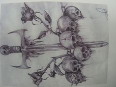 Skull Roses And Dagger Drawing - andy_sixx © 2014 - Jan 19, 2012