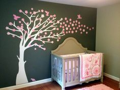 Pink and Grey Nursery with Cherry Tree