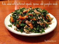 Kale Salad with butternut squash, quinoa, and pumpkin seeds!