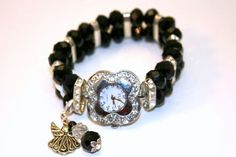 Black Swarovski Beaded Watch Band and Watch Face $25.00
