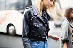 Elena Perminova wearing cropped leather jacket during Paris fashion week (March 2016). #pfw