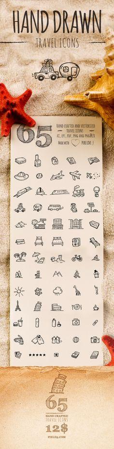 Ręcznie rysowane ikony turystyczne