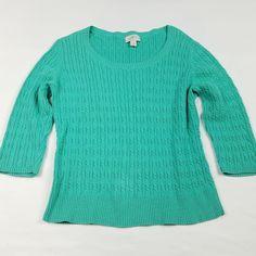Ann Taylor LOFT Womens Sweater Size LP Petite Large Cable Knit 3/4 Sleeve Green #AnnTaylorLOFT #Crewneck #CasualCareer