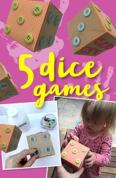 Grab a dice from a board game at home and try out these ideas! These games will help them to learn, get creative, be active and have fun! They can also make their own dice from a box and buttons. Dice Games, Board Games, Activities For Kids, Have Fun, Preschool, Buttons, Phone Cases, Learning, Children