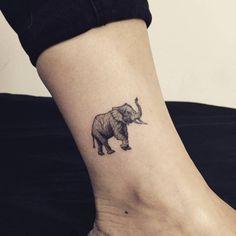 Elephant tattoo on the ankle. Tattoo artist: Hongdam
