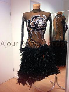 Ajour Design London 0 black silver crystal sequin bodice design feather latin dress