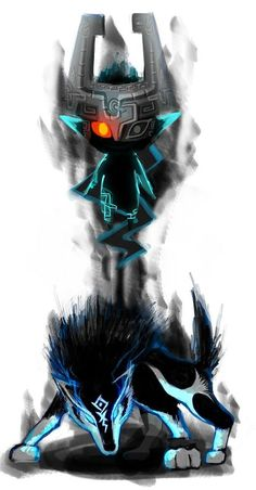 Twilight Princess: Wolf Link and Midna The Legend Of Zelda, Link And Midna, Link Zelda, Zelda Twilight Princess, Twilight Wolf, Jeff The Killer, Anime Outfits, Geeks, Fan Art