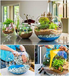 DIY Colorful Sand Terrarium Tutorials #Crafts, #Gardening, #HomeDecor