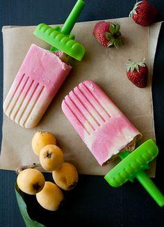 Loquat, strawberry frozen yogurt pops!