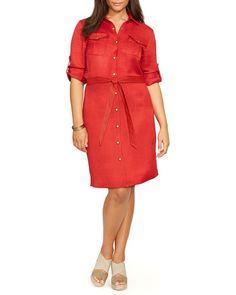 Lauren Ralph Lauren Plus Linen Blend Shirt Dress
