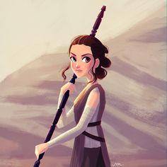 Rey from Star Wars: The Force Awakens - Art by Sarah Marino