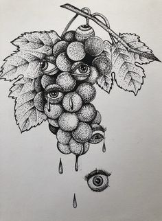 Excited to share this item from my shop: Decorative fruit, black and white graphic ,bizarre ar Bizarre Kunst, Bizarre Art, Dotted Drawings, Pencil Art Drawings, Tattoo Sketches, Tattoo Drawings, Tattoo Art, Art Sketches, Black And White Art Drawing