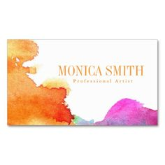 Splash of Watercolor Business Card; orange pink