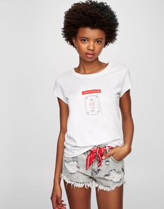 Pull&Bear - woman - clothing - best sellers ❤ - t-shirt with light switch illustration - white - 09244355-V2017