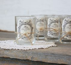 Great idea! Make your own candle holders look vintage. I think 1 x 2 Jane Austen prints from Etsy.