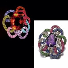 "Top left, JAR - bottom right described by Sotheby's as ""AMETHYST, RUBY, SAPPHIRE, TSAVORITE GARNET AND DIAMOND BROOCH 2,800 — 3,400 EUR sold 6,240EUR"" - no mention of date, author or any mark.... and what weird proportions and use of color... it reminds me of a dead spider! #LucDanto #JewelsbyJAR #unfortunate #copycat"