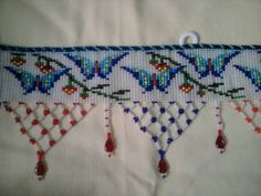 Torans Embroidery Motifs, Beaded Embroidery, Woolen Craft, Butterfly Cross Stitch, Crochet Fringe, Necklace Tutorial, Diwali Decorations, Bead Jewellery, Loom Beading