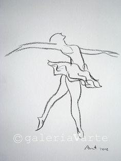 Charcoal drawing - ballet dancer - original - europeanstreetteam. $40.00, via Etsy.