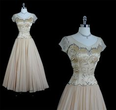 Vintage 40s 50s FRANK STARR Mid Century Glamour Goddess Silk Chiffon Beaded Cocktail Party Wedding Dress. $550.00