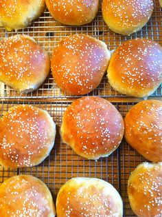 """(Homemade hamburger buns - from """"here is the recipe"""" blog)   Light Brioche Buns  Adapted from the New York Times who took it from Hidefumi Kubota of Comme Ca restaurant in Los Angeles"""