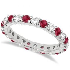 Eternity Diamond & Ruby Ring Band 14k White Gold (2.35ct) - Allurez.com