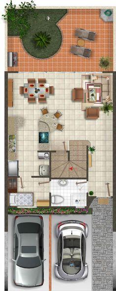 Planta Baja 155 m Small House Floor Plans, Duplex House Plans, Dream House Plans, Home Design Plans, Plan Design, Home Interior Design, Small Villa, Indian House Plans, Narrow House