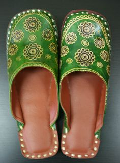 Green Leather slippers