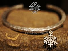 Snowflake 925 Silver Bangle B39 by silversmithhk on Etsy