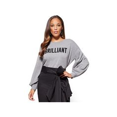 "Brilliant"" Graphic Sweatshirt ($38) ❤ liked on Polyvore featuring tops, hoodies, sweatshirts, grey, embellished sweatshirts, embellished top, grey crew neck sweatshirt, drop shoulder sweatshirt and long sweatshirt"