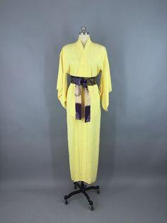 Vintage 1950s Silk Kimono Robe with Yellow Floral Pattern