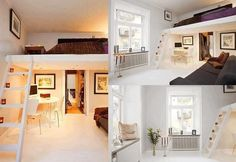 Lovely Bedroom Loft Concept or Idea for Elevated Bed to Save Space in SMall Bedrooms