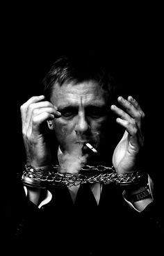 ♂ Black and white man portrait face of actor Daniel Craig