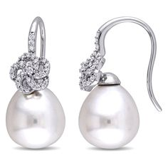 Miadora Signature Collection 14k Gold Cultured South Sea Pearl 1/4ct TDW Diamond Flower Drop Earrings