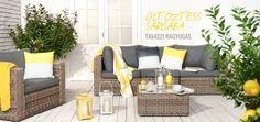 Sárga kiegészítők a nappaliba Outdoor Sofa, Outdoor Furniture Sets, Outdoor Decor, Home Decor, Decoration Home, Room Decor, Home Interior Design, Home Decoration, Interior Design