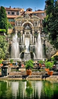 Villa d'Este – Tivoli Italy. The Villa d'Este is a villa in Tivoli, near Rome, Italy. Listed as a UNESCO world heritage site, it is a fine example of Renaissance architecture and the Italian Renaissance garden. Places Around The World, Oh The Places You'll Go, Places To Travel, Places To Visit, Around The Worlds, Dream Vacations, Vacation Spots, Vacation Travel, Italy Vacation