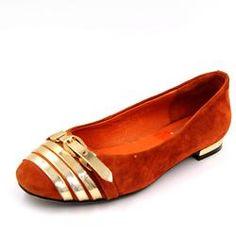 HOPE&SHARK Women's Suede Metallic Loafers Orange