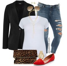 Weekend Inspiration – Skinny Jeans & Red Flats Plus Size Outfit Idea - Plus Size Skinny Jeans - Plus Size Fashion for Women - Outfit Jeans, Red Flats Outfit, Women's Jeans, Plus Size Skinny Jeans, Plus Size Blazer, Jeans Size, Mode Outfits, Casual Outfits, Fashion Outfits