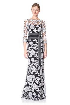 betsy & adam plus size illusion popover ball gown - dresses - plus