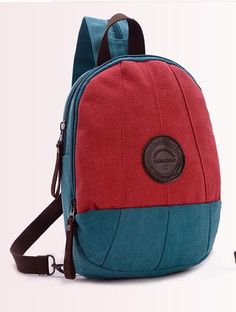 Ladies Color-Block Multifunctional Fashion Canvas Backpack 7 Colors