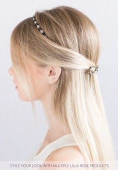 """Beaded hairband with clear and jet faceted beads.            Plating: Nickel      Glass      Beaded length: 16 inches / 40.5cm      Removable adjustable elastic band               Elastic Color: Available in Black, Blonde, Brunette, or Silver      Elastic Length Standard: 4-5"""" (10-13 cm), up to 6.5"""" stretched      Elastic Length Long: 5.25-7.5"""" (13-19cm), up to 10"""" stretched"""