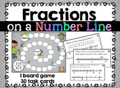 Fractions on a number line board game with task cards. 3rd Grade Fractions, Fourth Grade Math, Number Line Games, Powerpoint Lesson, Math Stations, Anchor Charts, Task Cards, Fun Learning, School Stuff