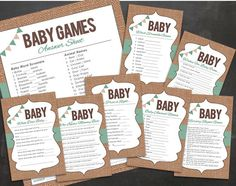 This bundle is perfect for your boho, outdoor, or rustic baby shower! This package is an upgrade from my other game packages and now includes SEVEN games :) SEVEN GAMES INCLUDED: When Does Baby Who Knows Mommy Best The Price is Right Baby Animal Names Nursery Rhymes Wishes for Baby Word Scramble This listing is for two PDF files. One file contains all games ready to print 2 to a page. One file contains two full pages of the answer key for hostess or mommy to be to grade participants. This…