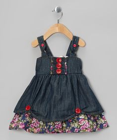 Take a look at this Denim Floral Button Cupcake Dress - Toddler & Girls by the Silly Sissy on #zulily today!