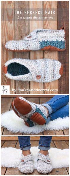 "Crochet Women Slippers Shoe Patterns - Crochet ModernWomen""s Sunday Slippers Free Pattern"