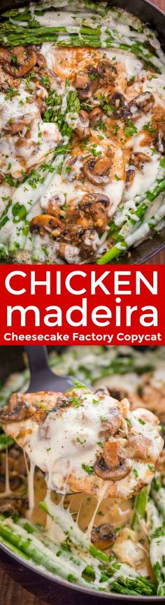 Chicken Madeira with juicy chicken and mushrooms in a creamy sauce with melty cheese... Creamy Chicken Madeira is a Cheesecake Factory copycat recipe!   natashaskitchen.com