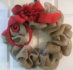 Have to remember this for Christmas time! Burlap and red, for a WInter/Christmas wreath. Noel Christmas, Winter Christmas, All Things Christmas, Christmas Wreaths, Christmas Decorations, Burlap Christmas, Handmade Christmas, Frugal Christmas, Xmas