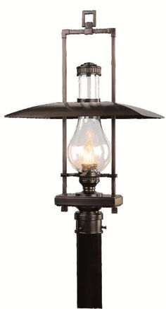 Country Rustic One Light 29 Tall Post Light Dakota Collection.