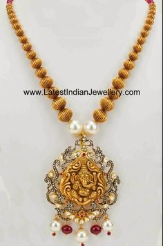 Gold Beads Ganesh Haram