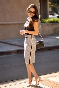 Ann Taylor top, skirt and purse, DailyLook heels, Pradman ring, Daniel Wellington watch, Prada sunnies