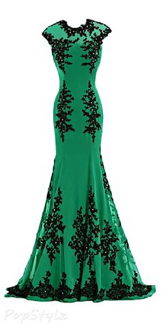 Sunvary Green & Black Formal Chiffon Long Gown